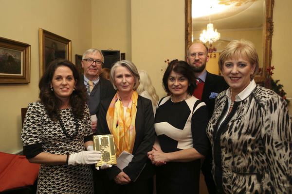 Yeats Thoor Ballylee Society members with a copy of Yeats's The Tower (1928) at the Yeats2015 launch with Senator Susan O'Keeffe and Minister Heather Humphries